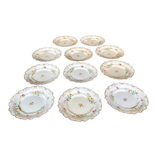 18th Century English Staffordshire Floral Gilt Plates - Set of 11 For Sale