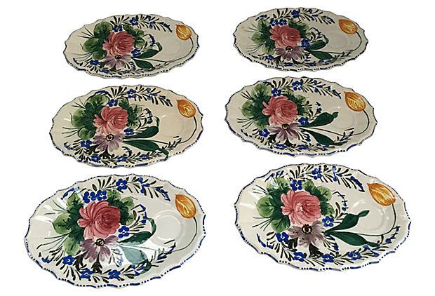 Italian Hand Painted Oval Plates - Set of 6 - Image 4 of 7  sc 1 st  Chairish & Italian Hand Painted Oval Plates - Set of 6 | Chairish