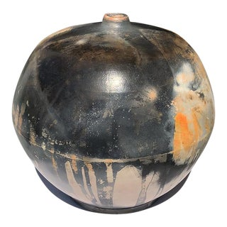 Contemporary Burnished Barrel Fired Round Signed Vessel Sculpture For Sale