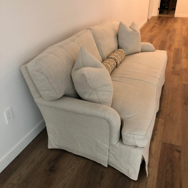 Lee Industries Down FIlled Belgain Linen Sofa For Sale In Washington DC - Image 6 of 13
