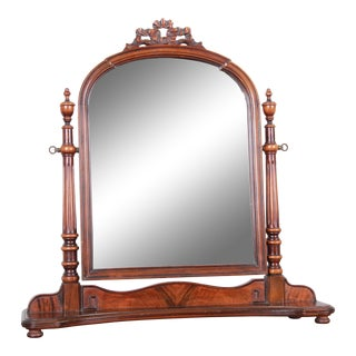 Baker Furniture French Provincial Carved Mahogany Dresser Top Swing Mirror, Circa 1950s For Sale