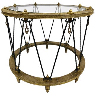 French Wrought Iron and Brass Side Table For Sale