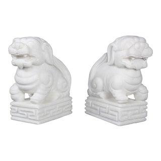 Vintage Solid White Marble Foo Dogs, Jardins en Fleur Showroom Sample - a Pair For Sale