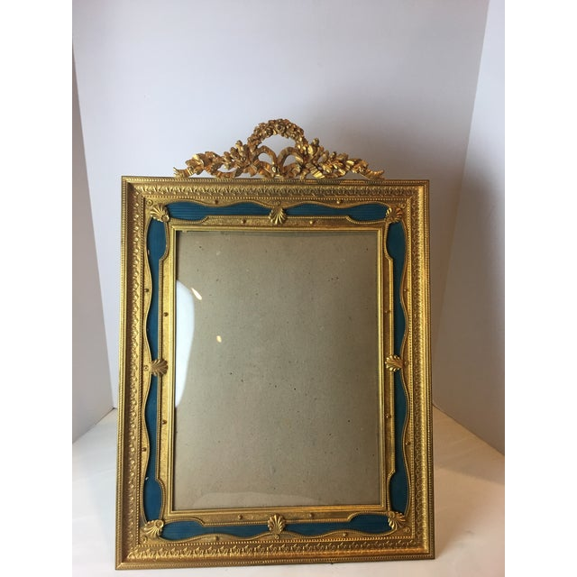 Antique French Gilt Bronze Ormolu & Green Guilloche Enamel Picture Frame For Sale In Detroit - Image 6 of 11