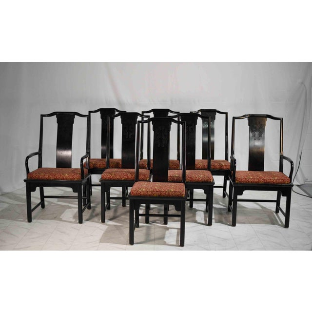 """Here is a set of eight Asian style dining chairs by high-quality furniture maker Century. From their """"Chin Hua"""" line..."""