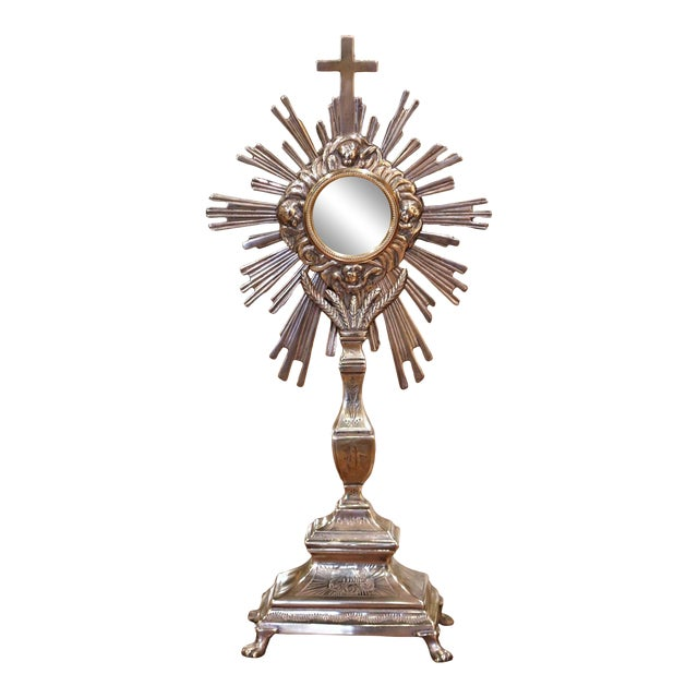 19th Century French Bronze Silvered Catholic Monstrance With Cross & Wheat Decor For Sale
