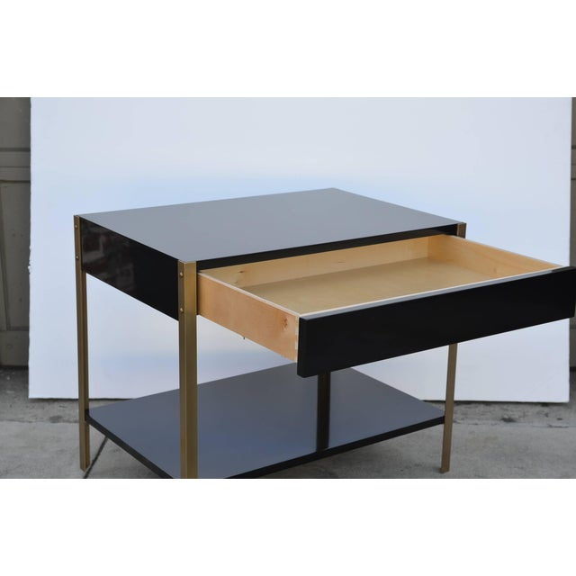 """Brass Contemporary Design Frères """"Laque"""" Black Lacquer and Brass Nightstands - a Pair For Sale - Image 7 of 9"""
