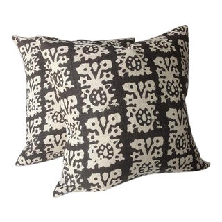 Schumacher Jakarta Accent Pillows in Tribal Print - A Pair