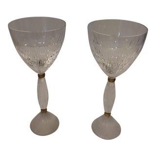 Hermes Paris Crystal & Gold 18K Rope Stem Glasses - A Pair