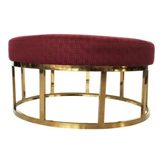 Upholstered Round Ottoman or Coffee Table With Solid Brass Base For Sale
