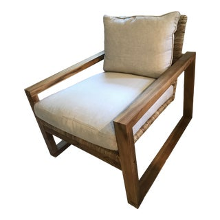 Wrapped Rattan Teak Chair For Sale