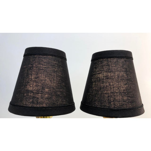 English English Traditional Black Linen Lamp Shades - Set of 6 For Sale - Image 3 of 8