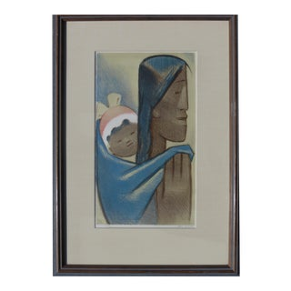 Jean Charlot The Pilgrims (Aka Mexican Mother and Child) Lithograph For Sale