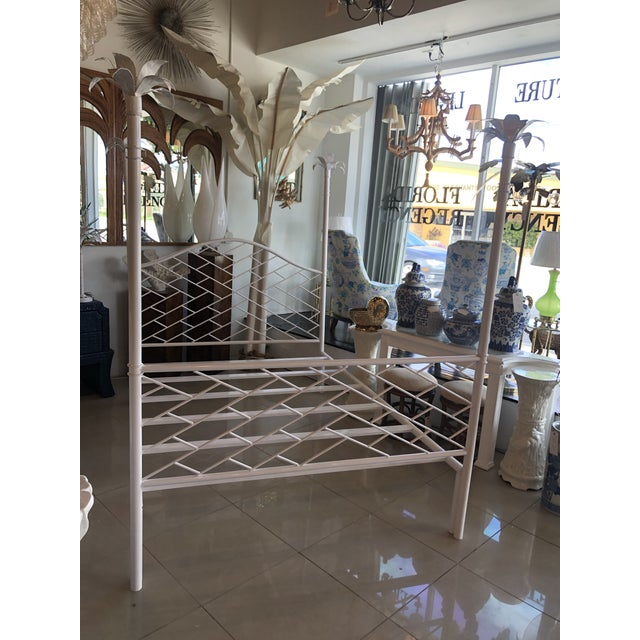 Vintage Chinese Chippendale Palm Tree Leaf Metal Four Poster Queen Full Size Bed For Sale - Image 9 of 12