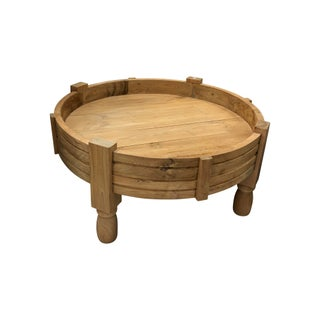 Boho Chic Teak Round Coffee Table For Sale