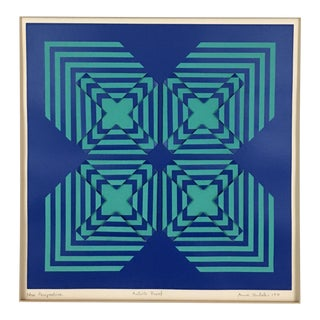 1971 Vintage Anne Youkeles New Perspective Geometric Op Art Serigraph Collage For Sale