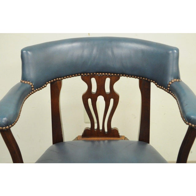Vintage Ephraim Marsh Chippendale Blue Leather & Mahogany Library Office Arm Chair - Image 5 of 11