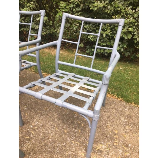 1960s Vintage Hollywood Regency Faux Bamboo Aluminum Patio Chairs