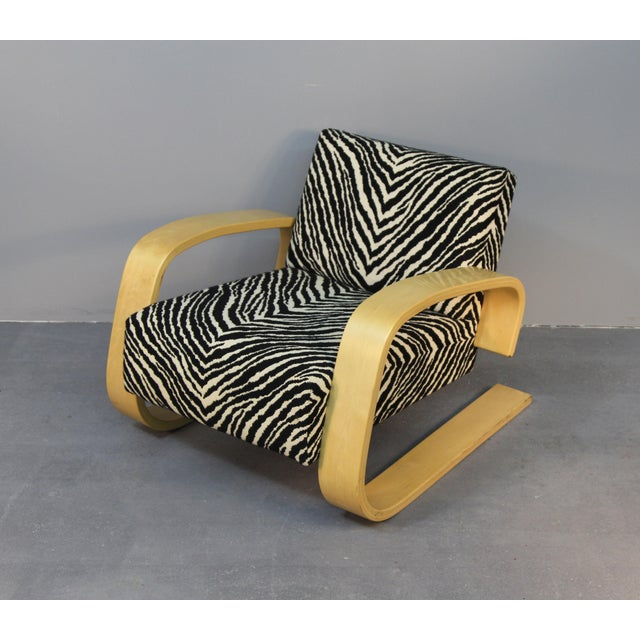 Alvar Aalto Tank Chair With Original Zebra Fabric - Image 2 of 7