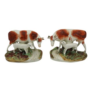Antique Staffordshire Cows w/ Calf - A Pair For Sale