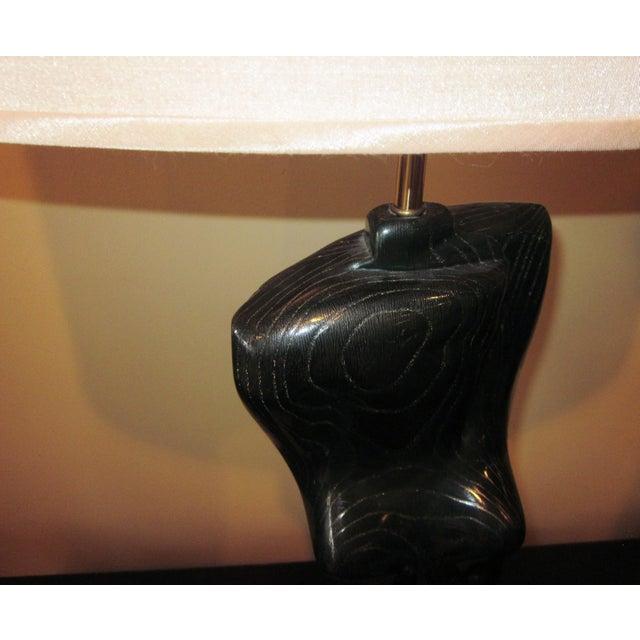 Yasha Heifetz 1950s Yasha Heifetz Mid-Century Modern Cerused Oak Nude Woman Torso Figural Modernist Table Lamp For Sale - Image 4 of 12