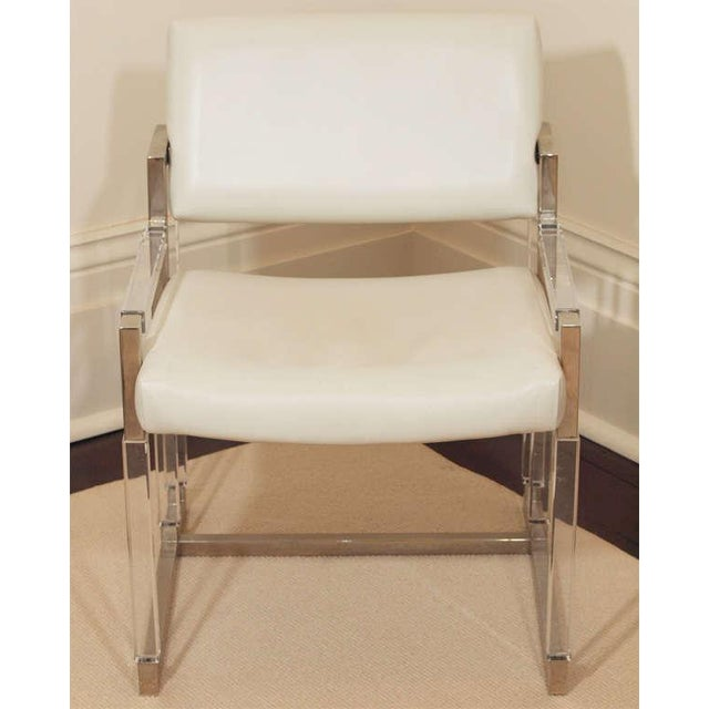 """Metric Line"" chair and ottoman by Charles Hollis Jones for Hudson Rissman, c. 1968; the frames in beveled acrylic and..."
