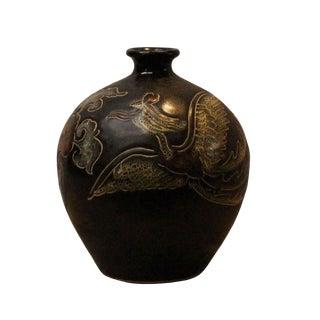 Chinese Handmade Ceramic Brown Black Bird Motif Jar Vase For Sale