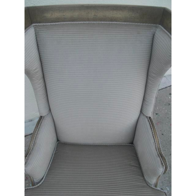 Gray 1960s Vintage Custom Upholstered Monumental Wingback Chair For Sale - Image 8 of 10