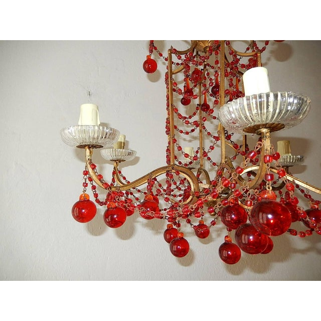 French French Red Murano Ball and Chains Chandelier, circa 1940 For Sale - Image 3 of 11