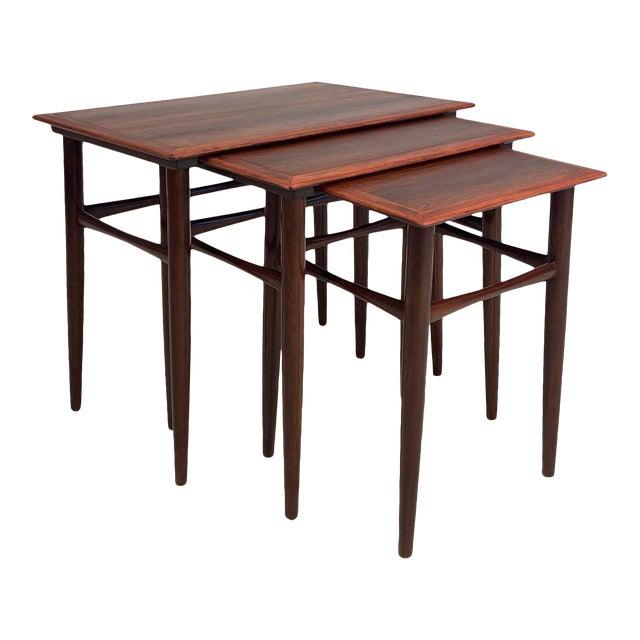 Vintage Danish Rosewood Nesting Tables For Sale