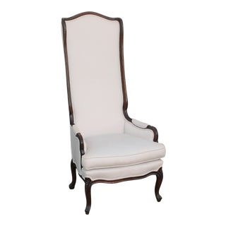 Vintage Mid Century Unusual Beautiful Tall Back Parlor Chair For Sale