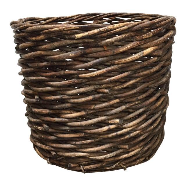 Vintage French Oversized Harvest Wicker Basket For Sale
