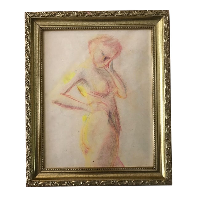 1950s Vintage Pastel Drawing Study of a Nude For Sale