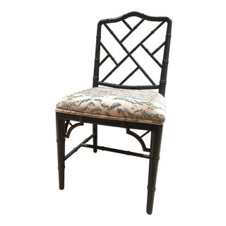 Blue Chippendale Side Chair