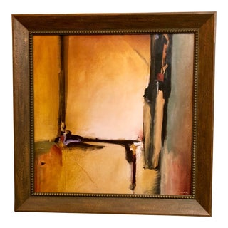 Vintage Mid Century Abstract Framed Oil Painting For Sale