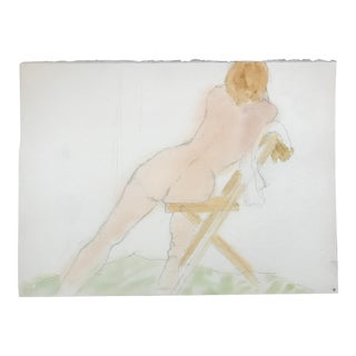 1980s Vintage Resting Female Nude Watercolor Painting
