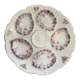 Hand Painted Oyster Plate For Sale