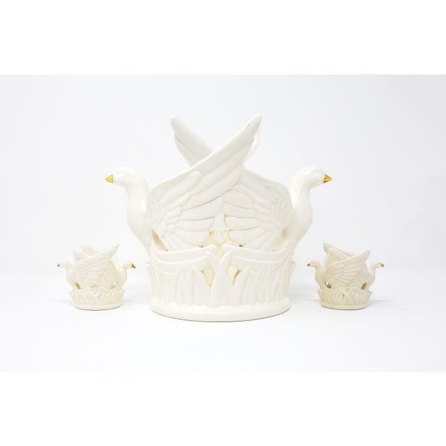 Ceramic Flying Doves Candle Holders - Set of 3 For Sale - Image 12 of 12