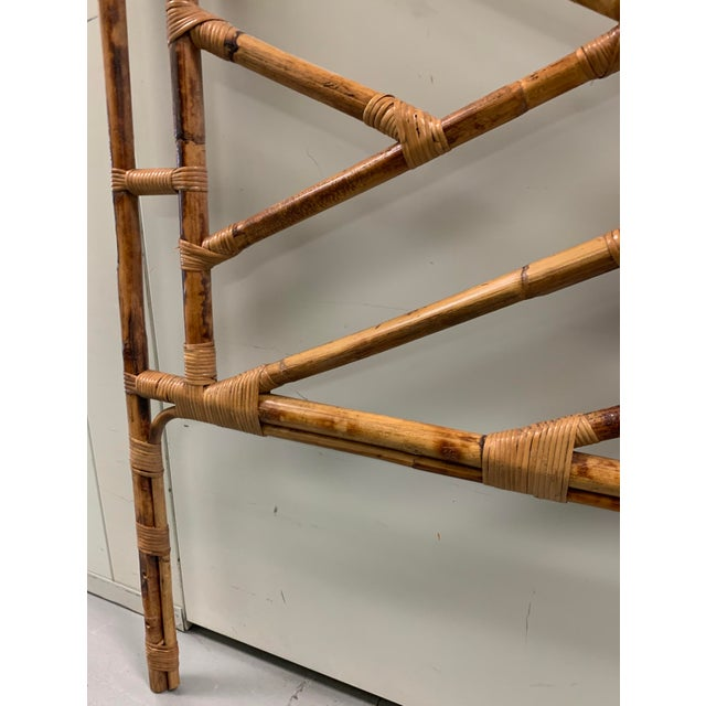 Brown Bent Bamboo Full Size Headboard For Sale - Image 8 of 13
