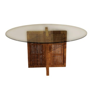 Restored Rattan, Cane and Glass Table by Bielecky Brothers For Sale