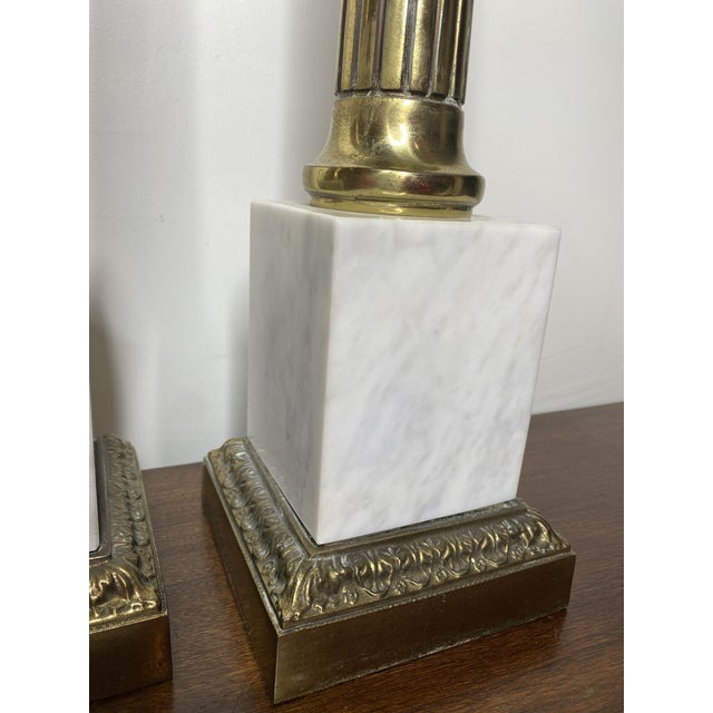 Mid 20th Century Mid Century Marble and Brass Lamps - a Pair For Sale - Image 5 of 11