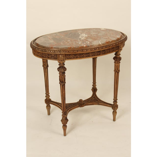 1930s Louis XVI Carved Marble Top Table For Sale - Image 13 of 13