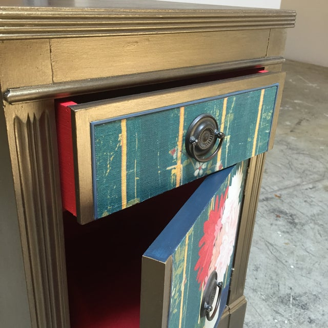 Cottage Metallic Gold Nightstand With Floral Linen Panel For Sale - Image 3 of 10