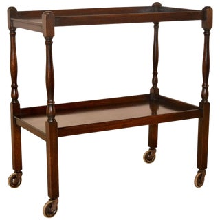 English Turned Oak Drink Cart Circa 1900 For Sale