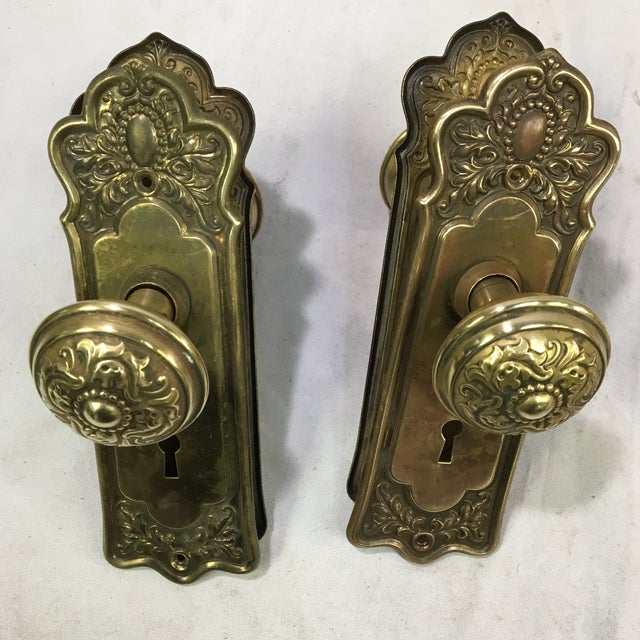 Antique Style Victorian Filigree Brass Back Plates and Doorknobs For Sale - Image 4 of 10