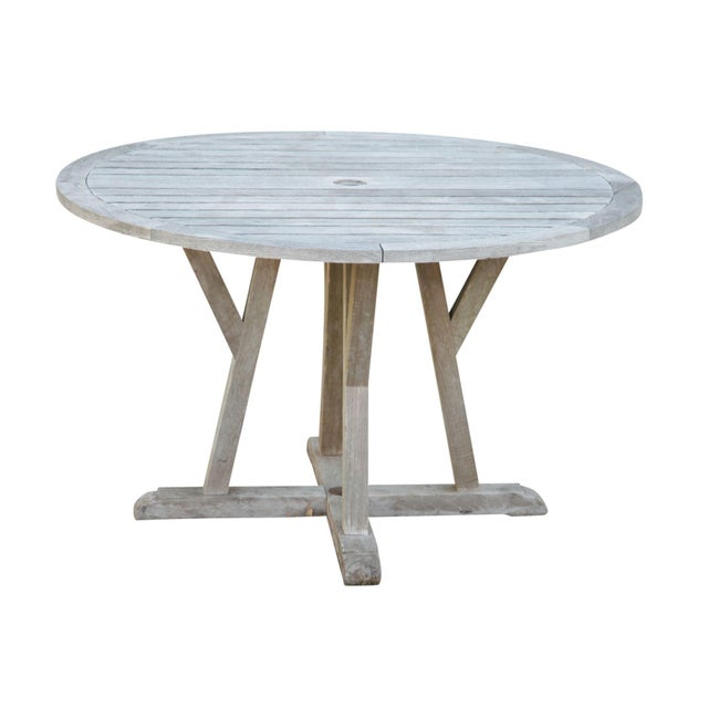 "Weather Master Weathered Teak 48"" Round Patio Dining Table For Sale - Image 12 of 12"