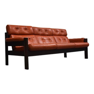 Percival Lafer Style Salmon Leather Sofa For Sale