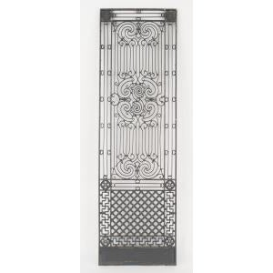 American Victorian style (19/20th Cent) iron gates with filigree scroll design and lattice base For Sale - Image 11 of 11