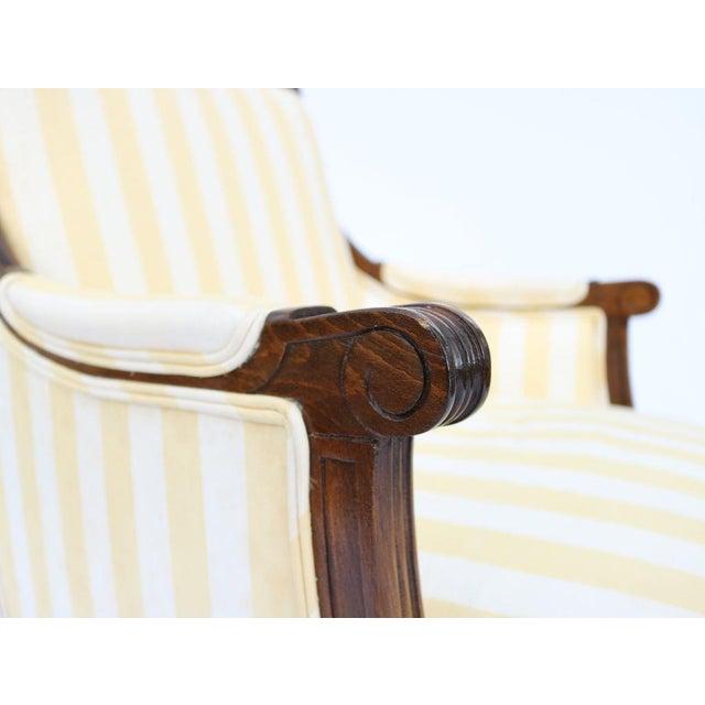 Louis XVI Style Striped Upholstery Walnut Bergère - Image 6 of 11