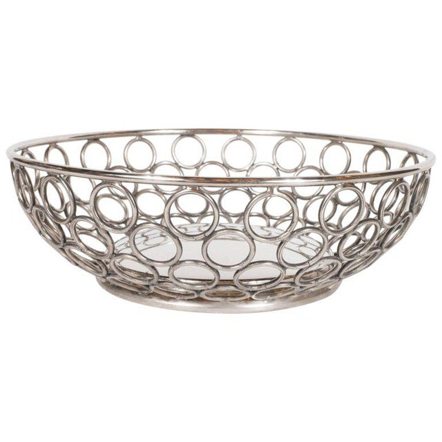 Metal Mid-Century Modern Silver Plate Bowl/Basket with Repeating Circle Motif, Raimond For Sale - Image 7 of 7